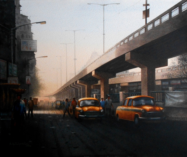 Sudipta Karmakar  'Kolkata Series 10', created in 2014, Original Watercolor.