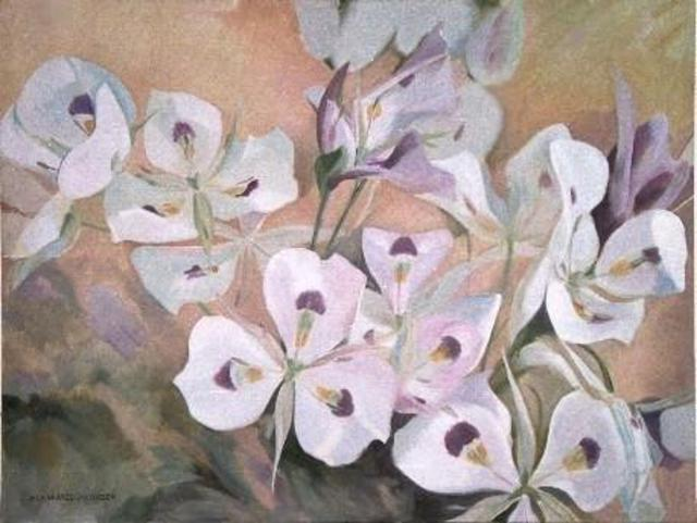 Artist Sue Jacobsen. 'A Profusion Of Sego Lilies' Artwork Image, Created in 1996, Original Painting Acrylic. #art #artist