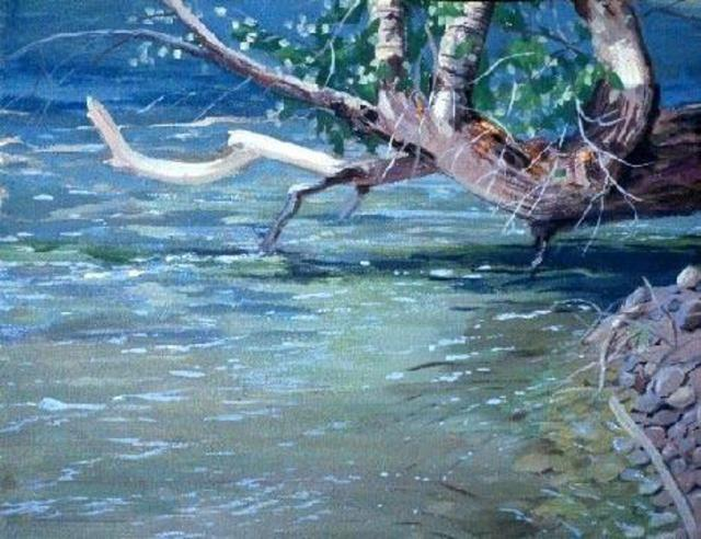 Sue Jacobsen  'A Shady Place For Fish To Lurk', created in 1998, Original Painting Acrylic.