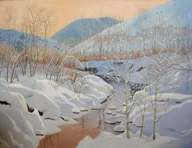 Artist Sue Jacobsen. 'Alpenglow At Gimlet Creek' Artwork Image, Created in 1989, Original Painting Acrylic. #art #artist