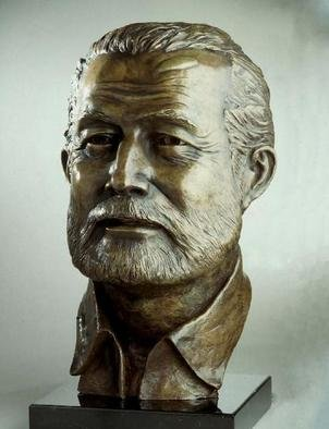 Bronze Sculpture by Sue Jacobsen titled: Ernest Hemingway, created in 2002