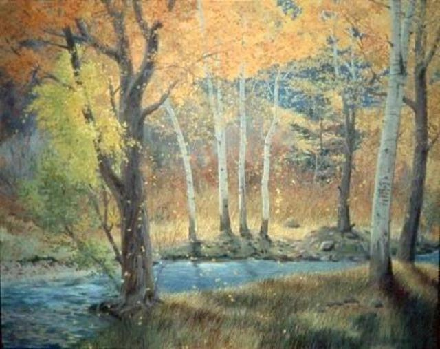 Sue Jacobsen  'Fall Color On Trail Creek', created in 2000, Original Painting Acrylic.