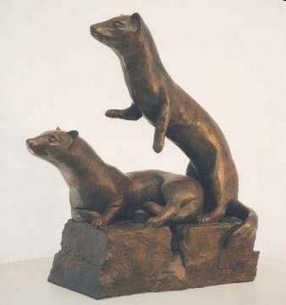 Bronze Sculpture by Sue Jacobsen titled: Ferret Family on Full Alert, created in 2002