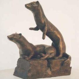 Sue Jacobsen Artwork Ferret Family on Full Alert, 2002 Bronze Sculpture, Animals