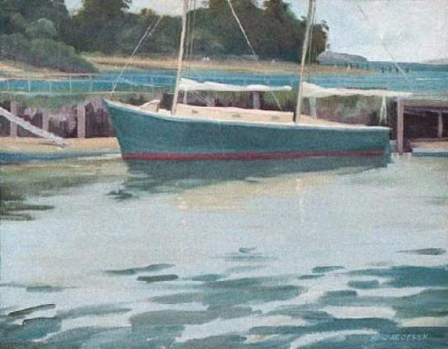 Sue Jacobsen  'Inverness Anchorage', created in 1993, Original Painting Acrylic.