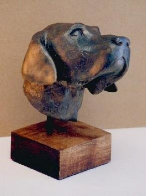 Sue Jacobsen: 'Loyal Friend Cody', 2002 Bronze Sculpture, Dogs. Both Cody and his owner are avid birdhunters. Small edition available in black and blond patina. ...