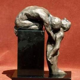 Sue Jacobsen: 'Mourning', 2005 Bronze Sculpture, Death. Artist Description: A small maquette for a planned memor- ial depicting the act of' letting go.'...