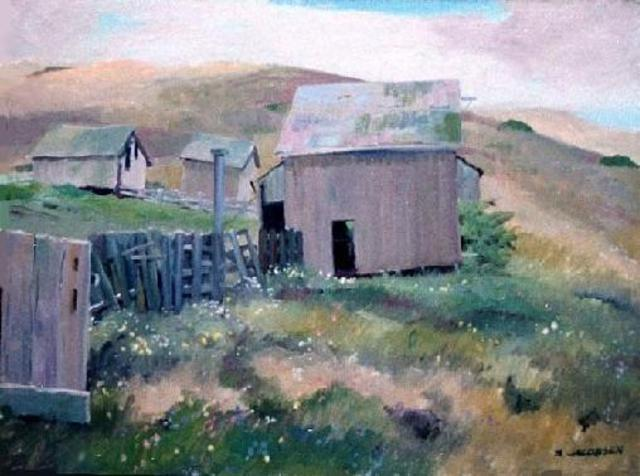 Sue Jacobsen  'Pierce Ranch At Pt Reyes', created in 1997, Original Painting Acrylic.