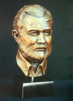 Sue Jacobsen: 'Small Papa', 2002 Bronze Sculpture, Portrait. This version of Ernest Hemingway is a half life- size open edition. Marble base....