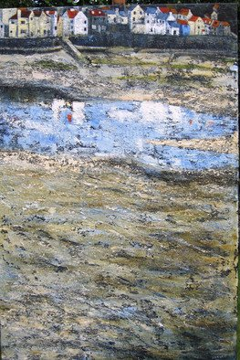 Landscape Acrylic Painting by Sue Nichol Title: Low Tide Staithes, created in 2006