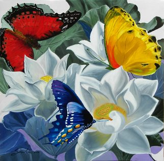 Sulakshana Dharmadhikari Artwork Flower with Butterfly , 2016 Oil Painting, Floral