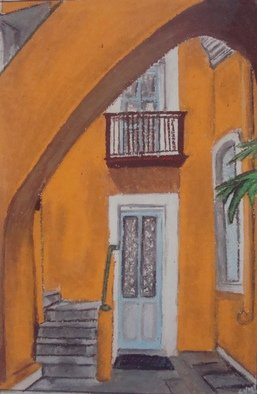 Sumitha Baluchamy: 'Serenity', 2013 Pastel, Interior. Artist Description:  Interior, home, doors, windows, serene, beauty, peace, orange, staircase, under, shades, balcony serenity, vintage ...