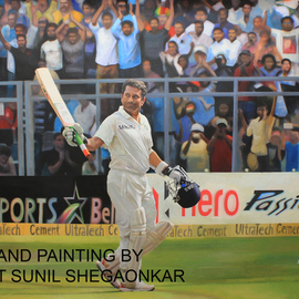 Sunil Shegaonkar: 'MASTER SACHIN TENDULKAR', 2016 Acrylic Painting, Portrait. Artist Description:  FAMOUS CRICKETER OF INDIA MASTER SACHIN TENDULKAR  ...