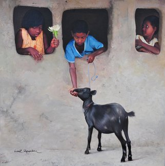 Sunil Shegaonkar: 'RELIGION OF KINDNESS', 2016 Acrylic Painting, Children. Artist Description:   THIS PAINTING HAVING THE SUBJECT OF TRUE INNOCENT CHILDLESSNESS AND KINDNESS. REAL ART. ACRYLIC ON CANVAS.  ...