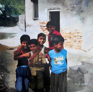 Sunil Shegaonkar: 'RELIGION OF NATURAL FRIENDSHIP', 2016 Acrylic Painting, Children. Artist Description:   THIS PAINTING HAVING THE SUBJECT OF TRUE CHILDNESS. VERY REAL ART. ACRYLIC ON CANVAS.  ...