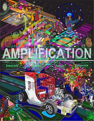 Rene Trujillo: 'amplificar', 2018 Computer Art, Archetypal. Spanish to Amplify  From my  Car tunes  series...