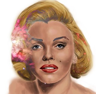 Thelma Tunyi: 'Marilyn', 2016 Digital Painting, Popular Culture. Artist Description:  Digital painting inspired by actress Marilyn Monroegalaxy, actress, nebula, woman, hollywood, space, female, person, people, figure, beauty, beautiful, portrait, digital, painting, film star, star, stars, movies, movie,  ...