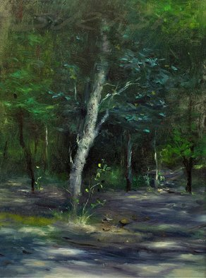 Surabhi Gulwelkar: 'hide and seek', 2015 Oil Painting, Landscape. Artist Description: I attracted towards  the subject because of  beautiful strong sunlight  passing through twigs and branches. I tried to catch the small changes of day- light through this work. The artwork is in Oil colors on canvas. ...
