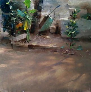 Surabhi Gulwelkar: 'morning', 2015 Oil Painting, Landscape. Artist Description: The morning light inspired me to paint this one. The play of light and shadow creates a dramatic atmosphere in my backyard every morning. I painted it on toned canvas with oil colors. ...