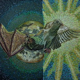 Stephen Vattimo: 'Terror And Peace', 2016 Acrylic Painting, Surrealism. Artist Description:  Medium   Acrylic On CanvasSize  26 x 34Style Symbolism, Surreal, impressionistic .Subject Dove, Sun, - Bat, MoonDate of Work  Nov 2015 - Sept 19,2016This painting started out as a pumpkin design for the Chads Ford Pa. Historical Societys Great pumpkin Carve.      Which I have been participating ...