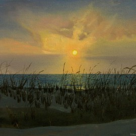 Fred Paddock: 'Fenwick Sunrise', 2006 Acrylic Painting, Seascape. Artist Description:  Fenwick Sunrise is a study of early morning light affected by fog and close lying cloud configurations. ...