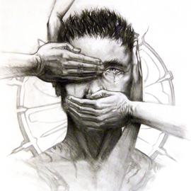 Ulysses Albertiii: 'Confession', 2007 Pencil Drawing, Christian. Artist Description:  Letting God into our lives. . ...