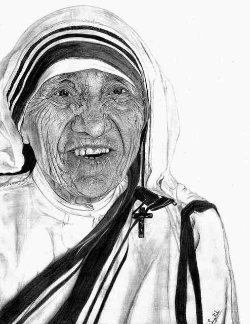 Surya Balu Artwork Mother Teresa Original Drawing Charcoal