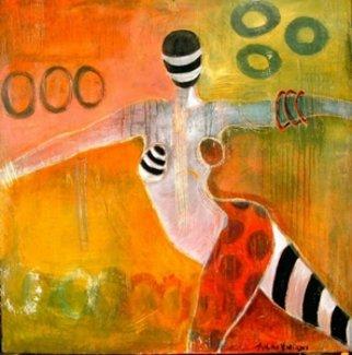Acrylic Painting by Susan Hargrove titled: Cirque Du Susan Acrobat, 2014