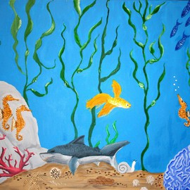 Susan Barnett-jamieson: 'Sleeping Shark', 2008 Acrylic Painting, Fish. Artist Description:  A whimsical look at the bottom of the sea! ...