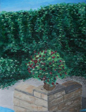 Landscape Acrylic Painting by Susan Barnett-jamieson Title: Wall of Ivy, created in 2008