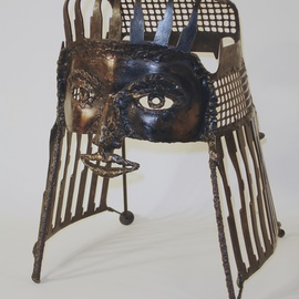 Rachel, copper coated steel mask By Suzanne Benton