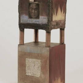 Suzanne Benton: 'Secret Treasure Box', 1990 Mixed Media Sculpture, History. Artist Description:  copper, wood, multilayers, multicultural Locked until the year 2000, never opened, collage     ...