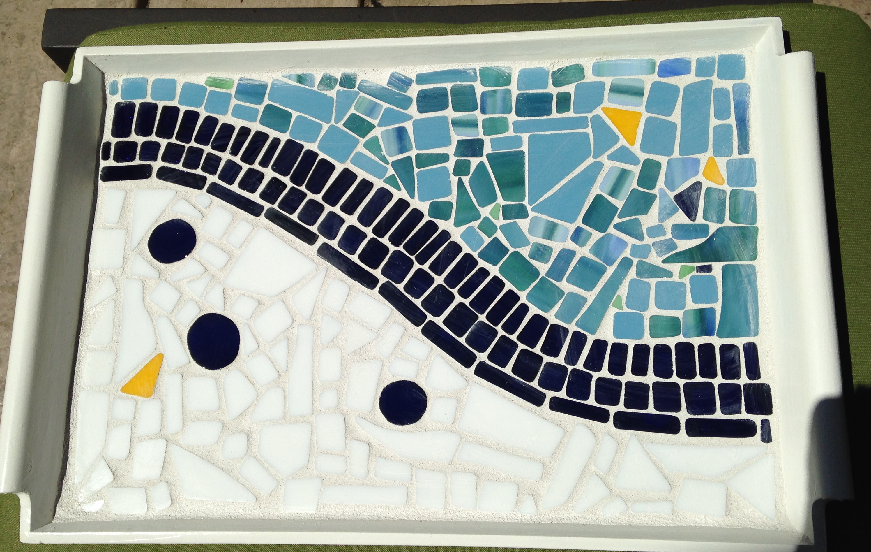 Suzanne Mcclelland: 'Abstract glass Mosaic Tray', 2016 Mosaic, Abstract.  Artist