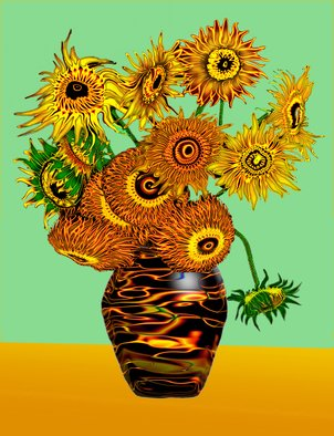 Li Su: 'sun flower', 2008 Digital Drawing, Impressionism. Artist Description:  van gogh ...