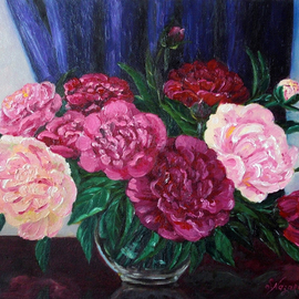 Svetlana Nazarova: 'peonies in a glass vase', 2017 Oil Painting, Floral. Artist Description: Painting peonies, flower painting, bright painting, painting as a gift, painting for a woman, painting for a girl, painting for an interior, painting for a good mood, optimistic painting...