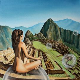 Svetoslav Stoyanov: 'Free Spirit', 2013 Oil Painting, Surrealism. Artist Description:                 contemporary, surrealism, realism, fantasy, sky, clouds, oil, canvas, landscape, green, machu picchu, prints, nature, forsale, fine, nude, art, clouds, illusion, desert, woman, girl, blue               ...