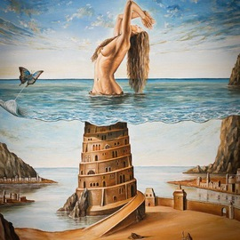 Svetoslav Stoyanov: 'THE NEW BABYLON', 2011 Oil Painting, Surrealism. Artist Description:    contemporary, surrealism, realism, fantasy, erotic, woman, girl, naked, stones, sky, clouds, oil, canvas, landscape, blue, framed prints, originals, nudy, people, room, dark, nature, sex, balance, for    ...