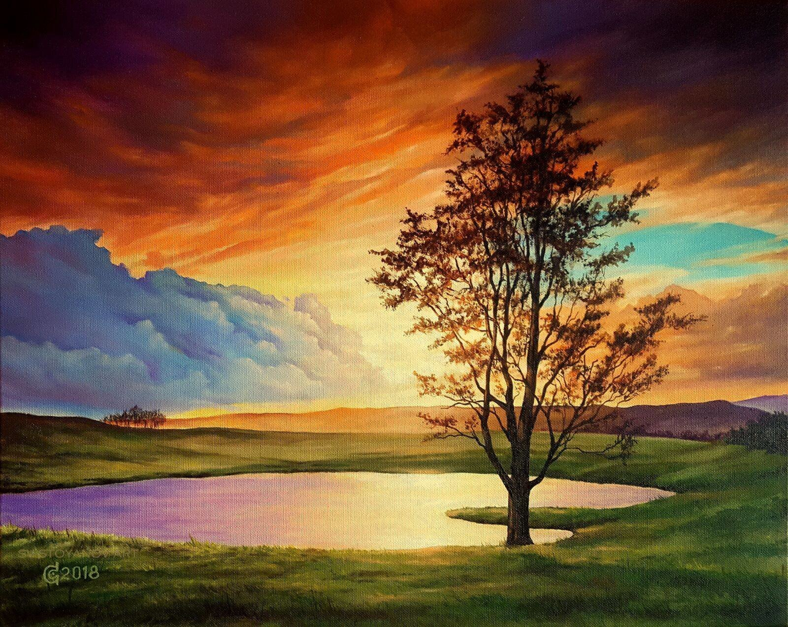 Svetoslav Stoyanov: 'piece of heaven', 2018 Oil Painting, Landscape. Artist Description: landscape, sunset, realism, fine art, original oil painting, blue clouds, orange sky, lake, tree...