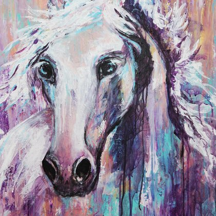 , White Horse, Abstract Figurative, $441