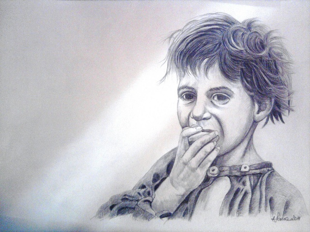 Iuliana Sava  'Gypsy Child Eating', created in 2011, Original Painting Oil.