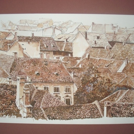 Iuliana Sava: 'View from above Sighisoara Romania', 2008 Other Drawing, Culture. Artist Description:  Drawing pen on paper, size 29x21cm, 2008. Post i pay. ...