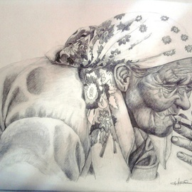 Iuliana Sava Artwork Waiting in the station, 2011 Pencil Drawing, Ethnic