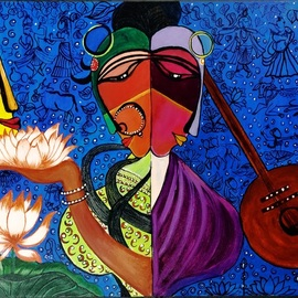 Rajni Ayapilla: 'radha krishna meera', 2018 Acrylic Painting, Abstract Figurative. Artist Description: One Radha, One Meera both love Krishna. One is the symbol of love and other one is spiritually in love which makes them even more beautiful.  Ek Prem Diwani, Ek daras Diwani  Remember this song. Beautifully sung. It actually reflects the love both had for Krishna. Meera s ...