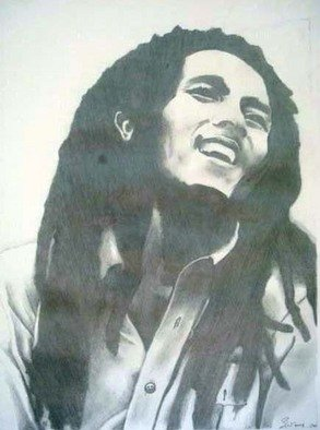 Steven Westbrook: 'Bob Marley', 2008 Other Drawing, People.   hand sketched! one of a kind! frame included( measurements do not include frame)   ...