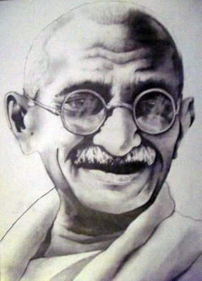 Steven Westbrook: 'Ghandi, soldier of peace', 2009 Other Drawing, People.  hand sketched, one of a kind! frame included( measurements do not include frame)  ...