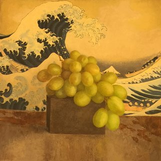 Sofia Wyshkind: 'Katsushika Hokusai and grape', 2000 Oil Painting, Travel. Artist Description:  The wave and grape ...