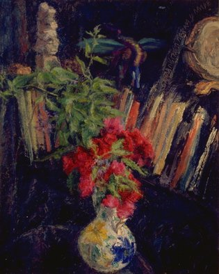 Sofia Wyshkind: 'Roses for Ura', 1996 Oil Painting, Botanical. Artist Description:   Roses and book shelf ...