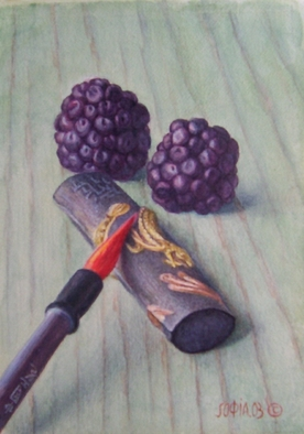 Sofia Wyshkind Artwork Serenade for Blackberry  Chinese Ink, 2001 Watercolor, Still Life