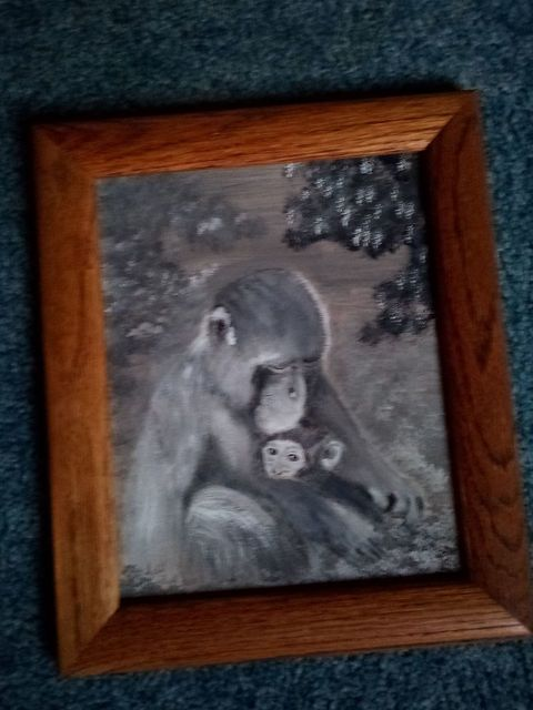 Sybil Fulk  'Mother Primate And Baby', created in 2021, Original Painting Acrylic.