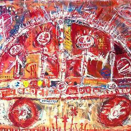 Sylvain Dez: 'The car', 2003 Acrylic Painting, Transportation. Artist Description: outsider art...